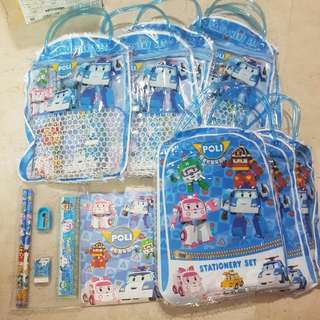 Robocar Poli Party Bags With Stationary Set