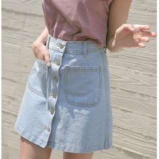 Light Denim Button Up A Line Skirt