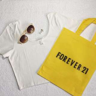Forever 21 White Cropped Top