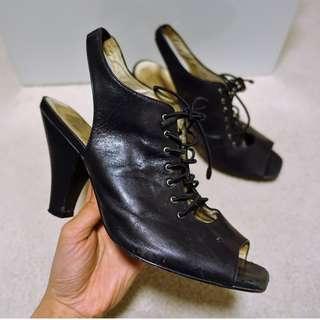 Wittner Black Open Toe Leather Heels