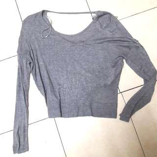 CottonOn Grey Crop Lightweight Blouse
