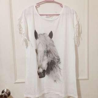 H&M Horse Print Fringed Top