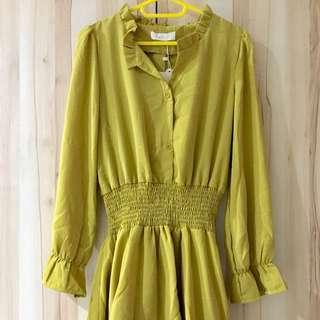 [媽媽太會買-衣櫃大出清]  全新-荷葉滾邊長袖洋裝-芥末黃