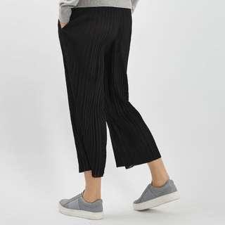 Reduced: Topshop Petite Plisse Black Trousers