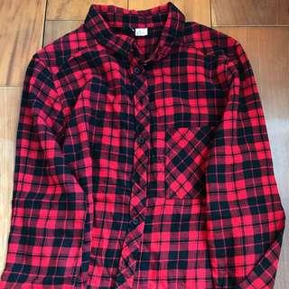 二手衣物隨便賣🍒h&m黑紅格子長袖