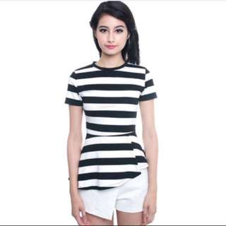MDS Asymmetrical Flare Top in Stripes