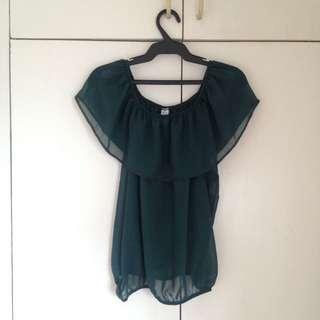 Dark green chiffon off-shoulder top