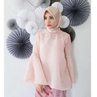 Caftan Id Pink Organza Beaded Top  Cera Ava Prologue Pvra Shafa Design F Hermaini Amr The Label Andela