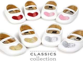 小市民倉庫~時尚愛心公主鞋-學步鞋-寶寶鞋-嬰兒鞋-幼兒鞋-鬆緊帶設計-穿拖方便-特價1雙180元-4色可選