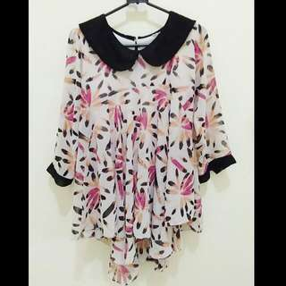 Flowery Flare Shirt With Tail