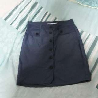 Taylor & Company Blue Button Skirt