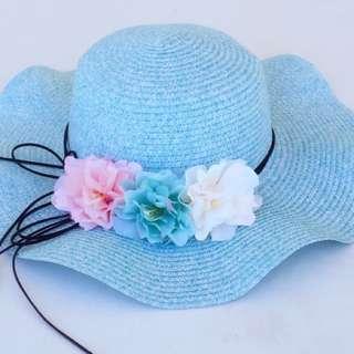 韓版花朵波浪大沿遮陽草帽
