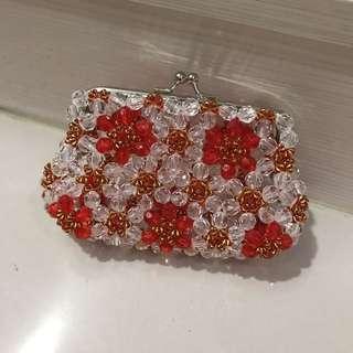 手工紅白珠珠零錢包