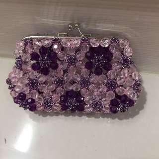 手工紫色珠珠零錢包