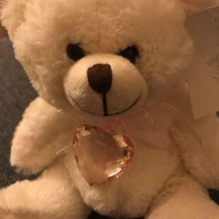 White Teddy Bear With Heart Pendant