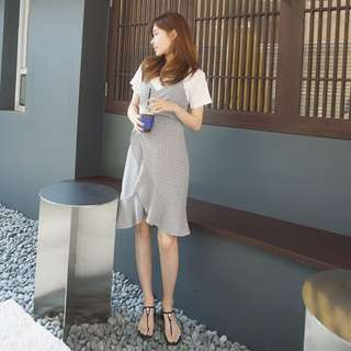 Chi.衣櫥 ✨ 實拍正韓綁帶簡約氣質顯瘦格子荷葉洋裝 超值兩件組 網美必備 實拍圖 約會穿搭超便宜