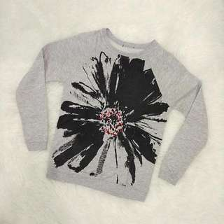 Grey Flower Sweater