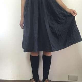 鬆緊黑長裙