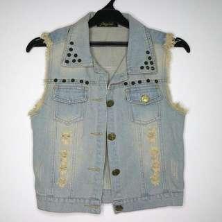 light blue jeans vest