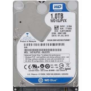 2.5 1TB Western Digital Scorpio Blue  Laptop Internal Hard Disk