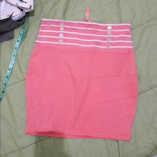 Topshop Pink Salmon Bandage Skirt