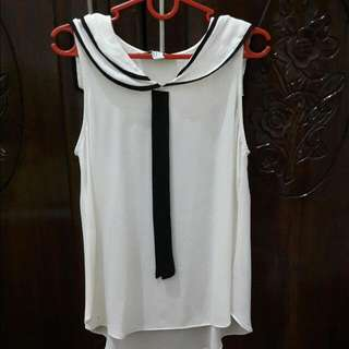 Forever 21 White Sailor Sleeveless Top
