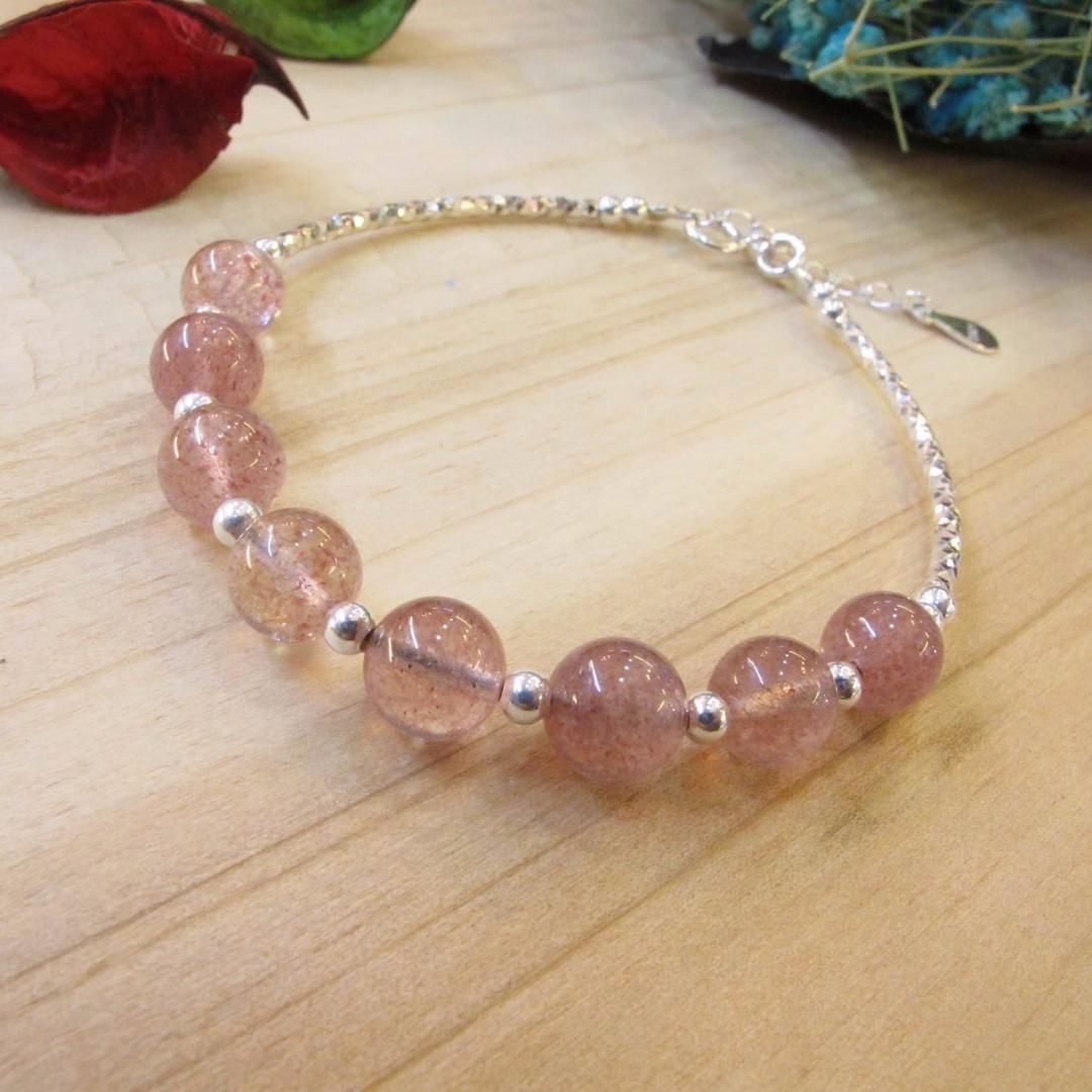 925純銀製 韓系輕珠寶草莓晶手鍊