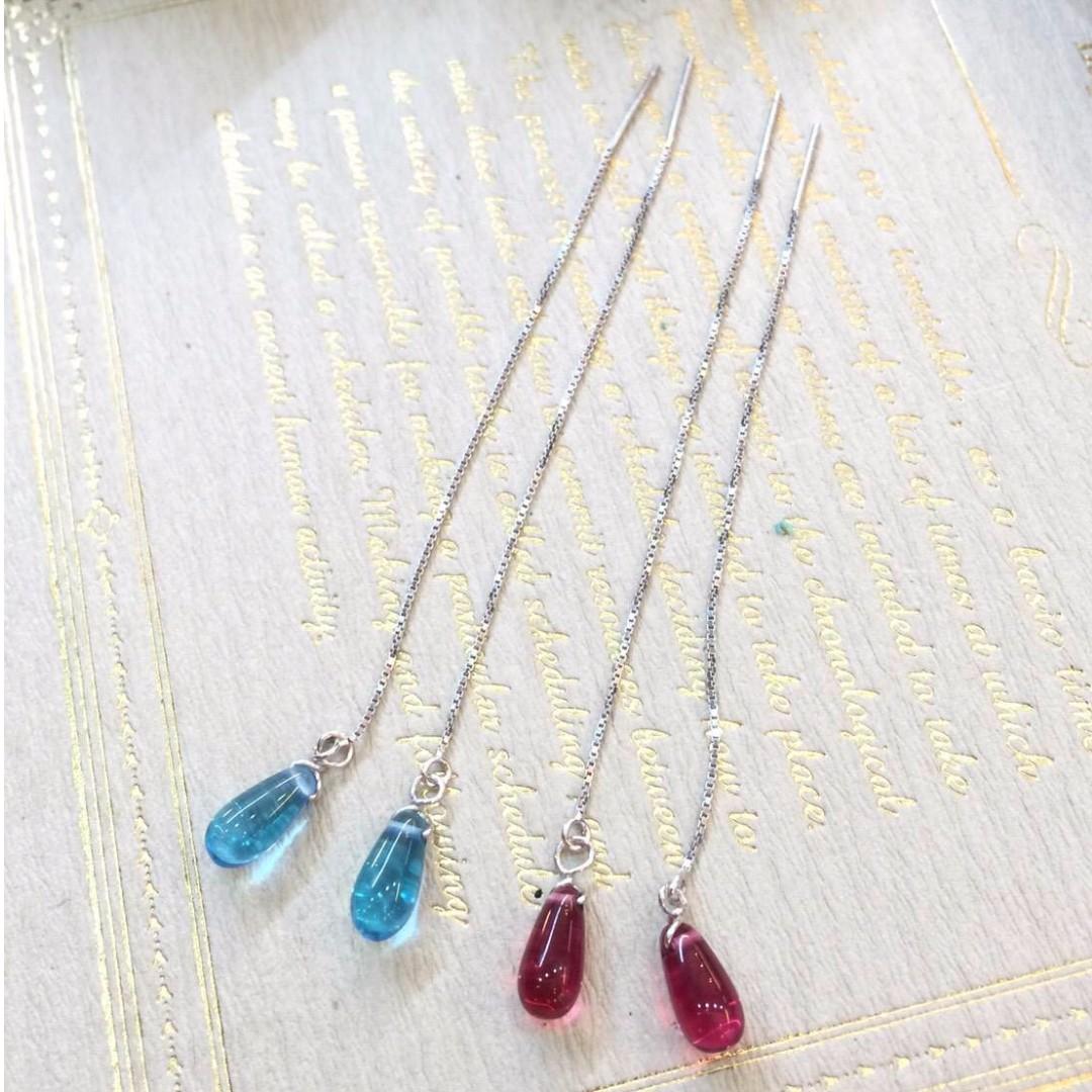 925純銀製 韓系小清新銀線琉璃耳環