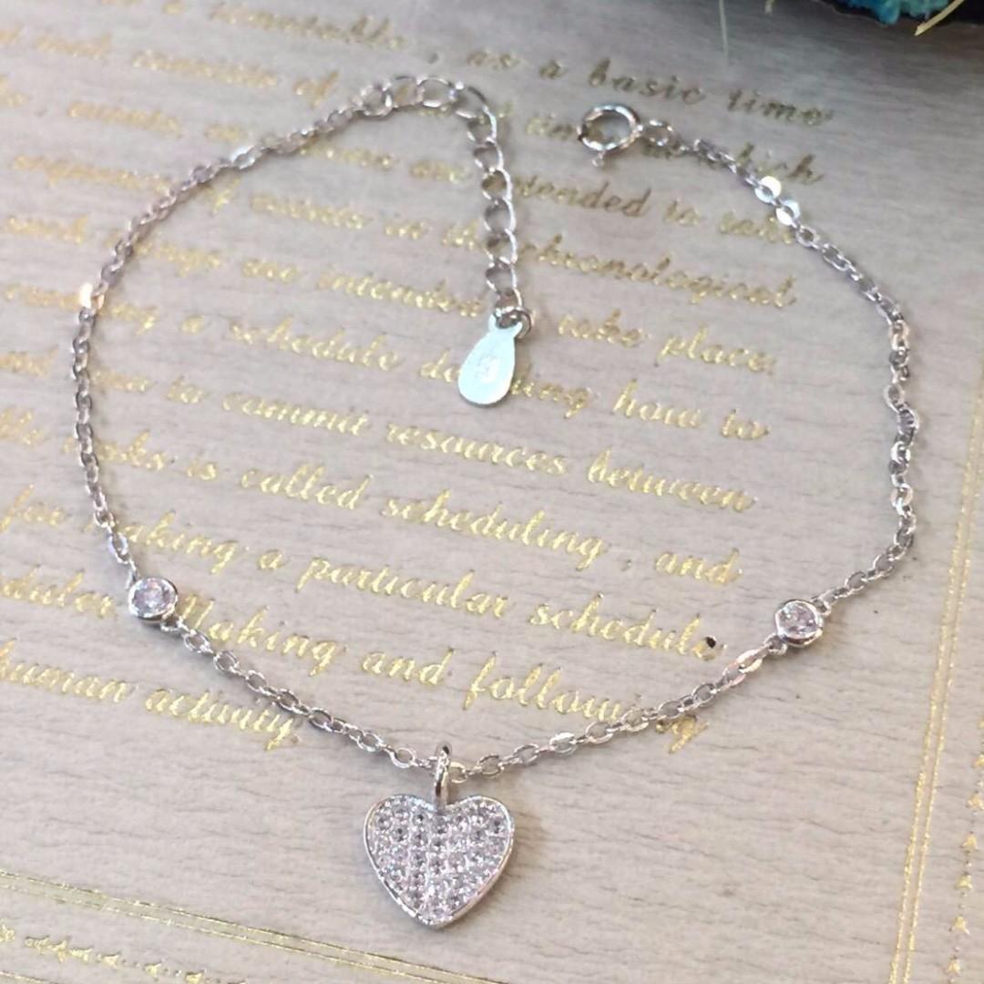 925純銀製 白晶鑽愛心牌手鍊