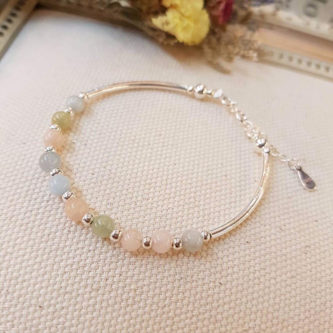 925純銀製 韓系輕珠寶摩根石手鍊