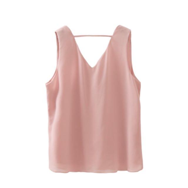 ✨ 98🆕PV領後一條無袖雪紡上衣(粉色)