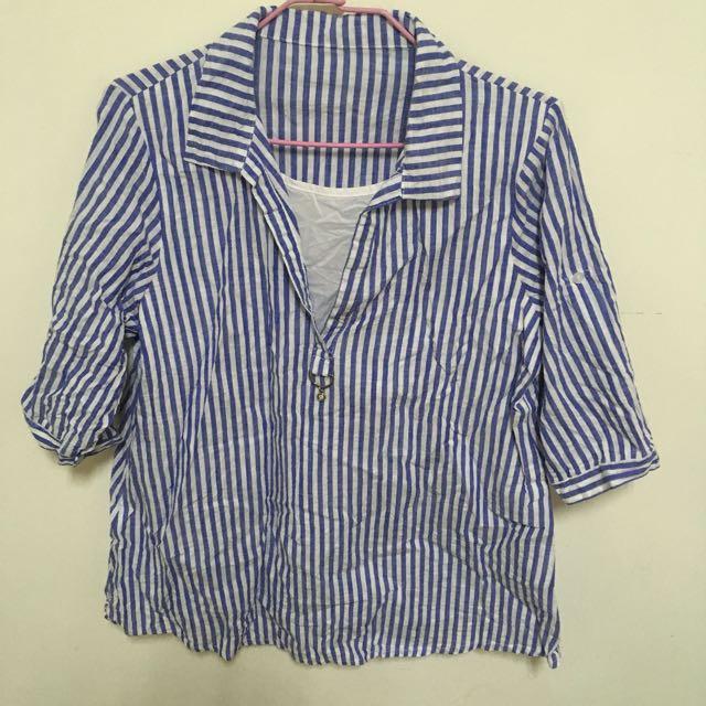 兩件式條紋襯衫