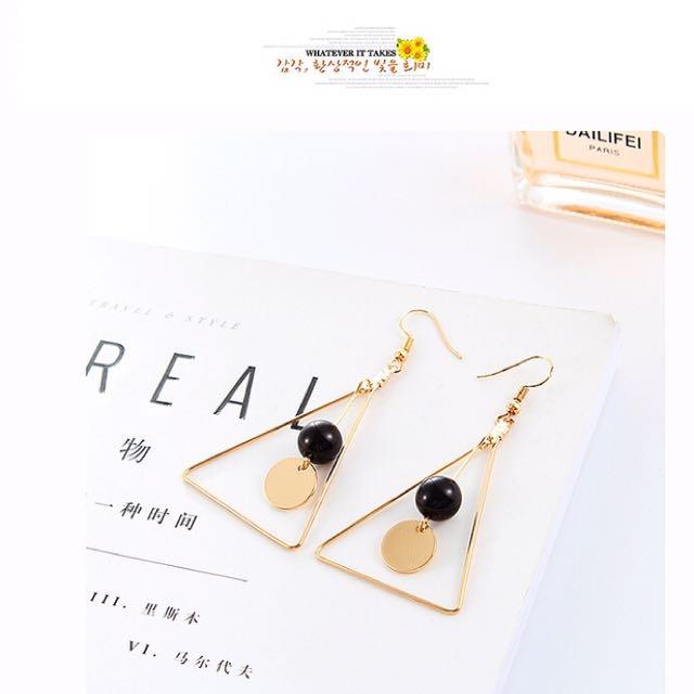 韓式三角耳勾耳環