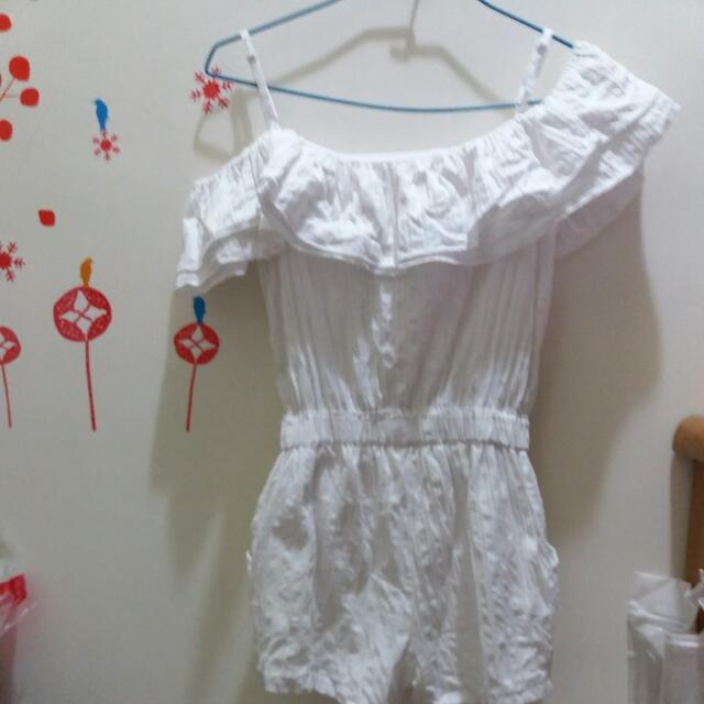 白色荷葉連身褲#雙十一女裝出清#手滑買太多