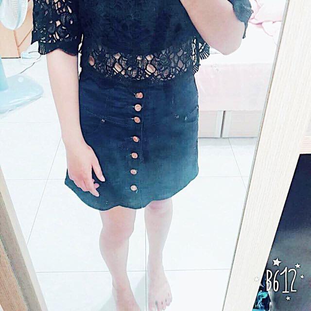 高腰顯瘦排扣牛仔裙
