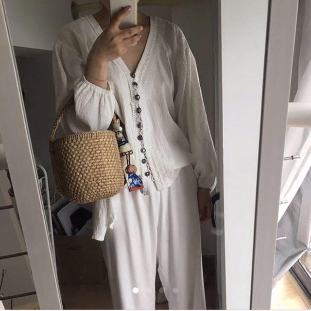 復古排釦白罩衫