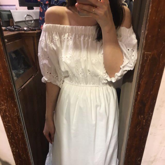 轉賣小花園 全新 ㄧ字領平口洋裝