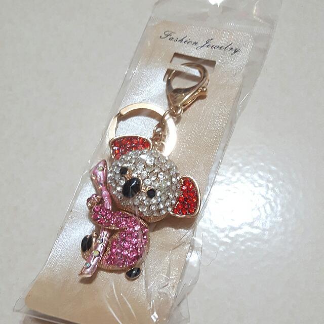 水晶 鑰匙圈 無尾熊 吊飾