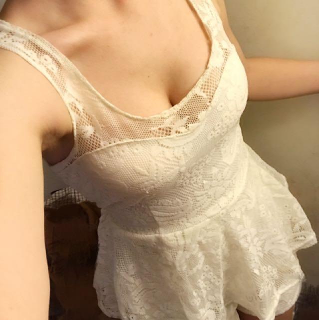 歐美 蕾絲 網紗 連身 背心 褲裙