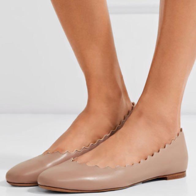 🌟真品 二手 Chloe 羊皮 真皮 裸色 Size:36 適合23.5 優雅氣質 花邊經典法式圓頭 平底鞋 娃娃鞋
