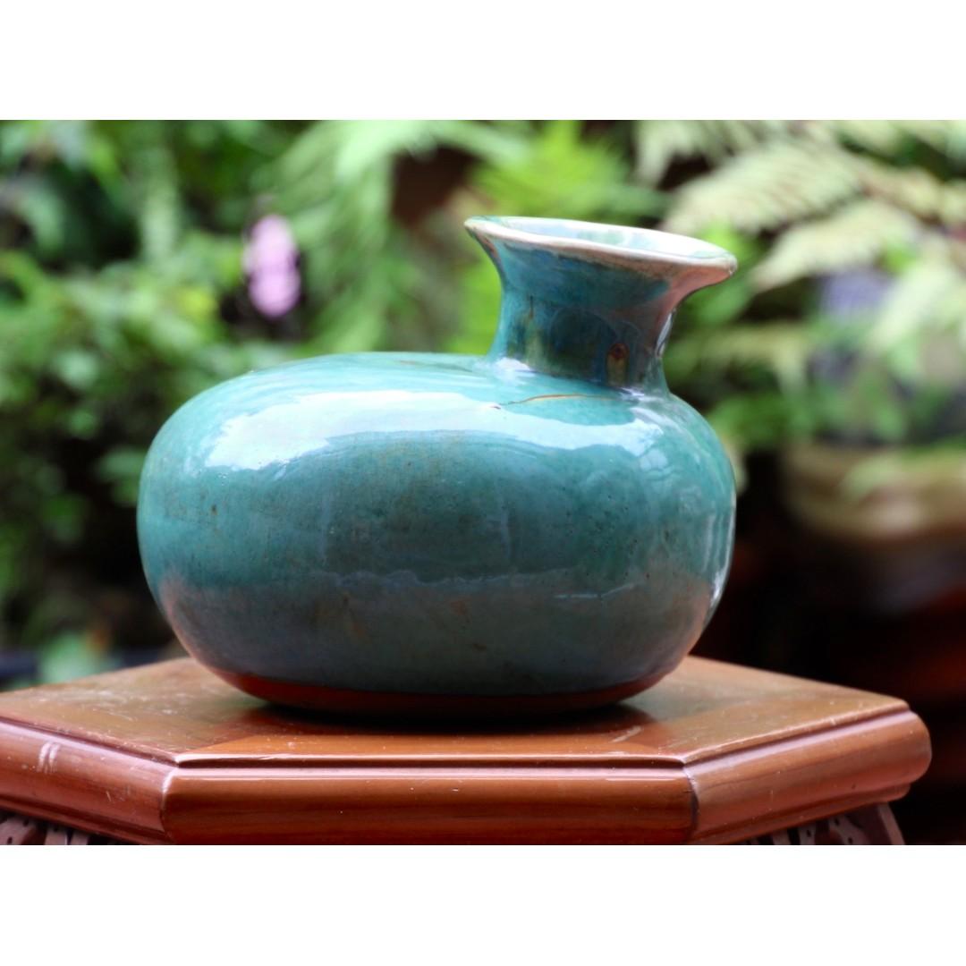 箱底好物**日本骨董 藍綠彩夜壺花器 N761200 長18cm *寬15cm  瓶口口徑8cm