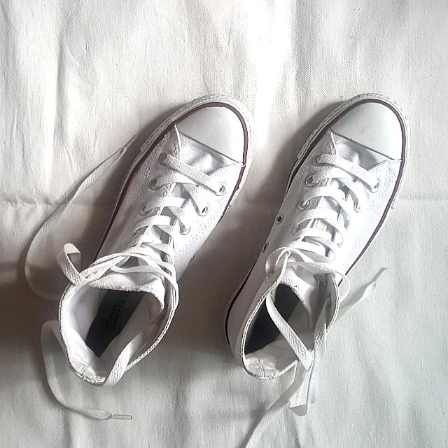 Authentic White Converse (high cut)