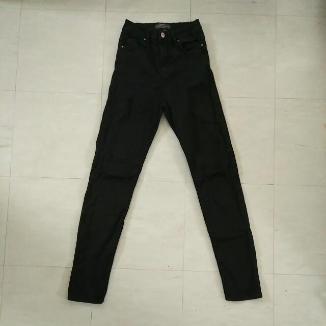 Bershka High Waist Knee Ripped Jeans