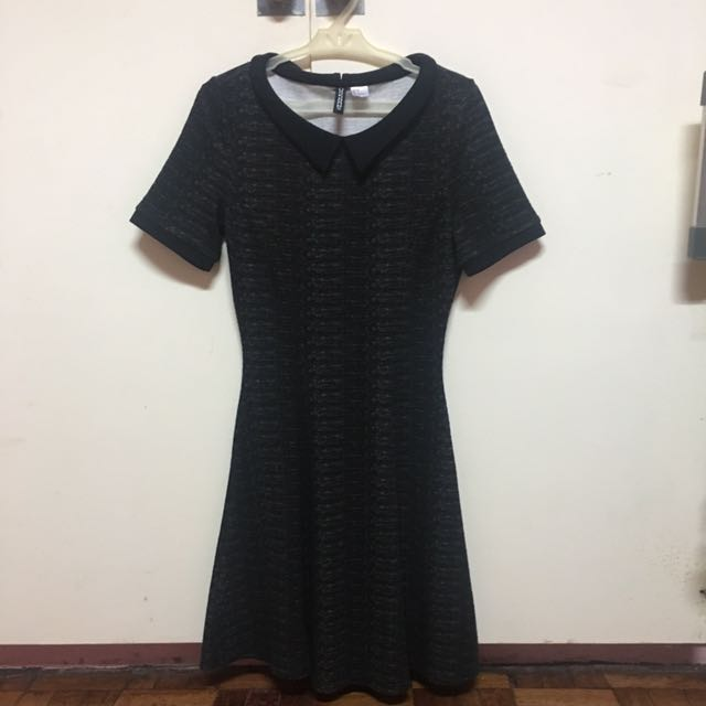 Black Collared Skater Dress With Sleeves