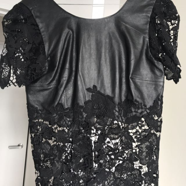 Black Lace/ Leather Top- White Suade