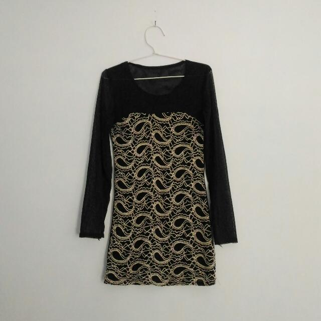 black pattern dress