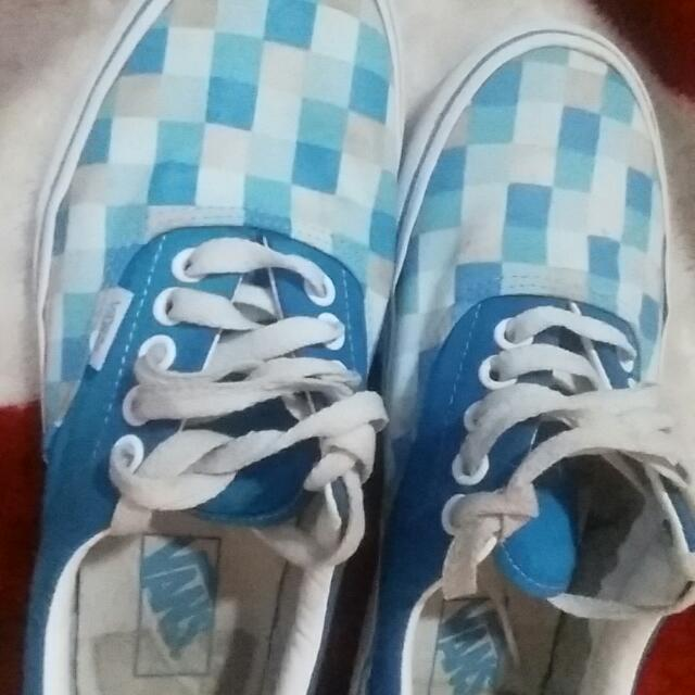 Blue And White Checkered Vans. Only Worn 2 Time.