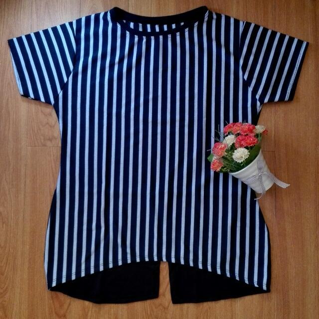 Blue Stripes Top (W/ Back Slit)