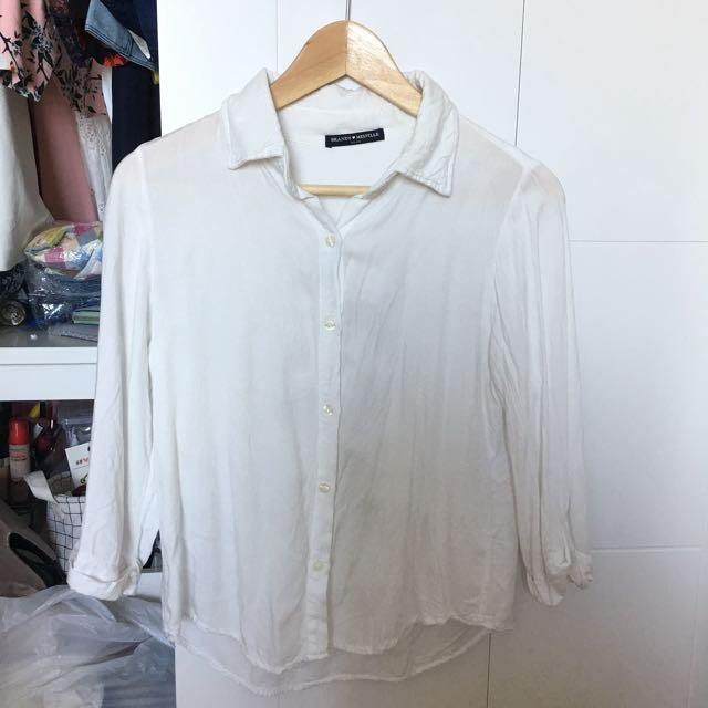 Brandy Melville White Cotton Shirt