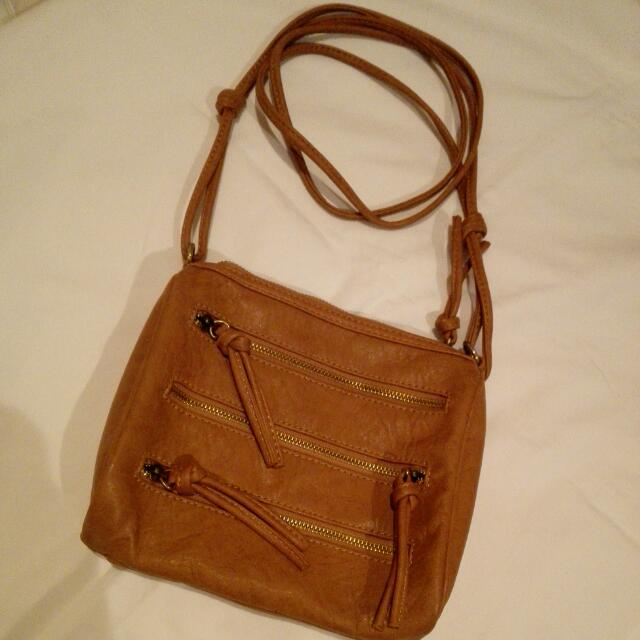 Brown Cross Body Purse Bag Faux Leather